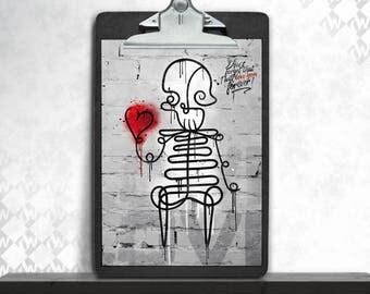Skully, art print, posters, fine art print, art print, poster art, cute, heart, skeleton, Valentine