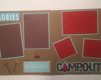 12x12 Double page scrapbook layout/CAMPING MEMORIES/Campfire/roasting marshmellows