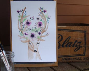 Deer with flowers - Original watercolor