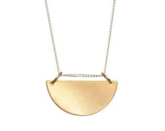 Fan - Brass & Silver necklace