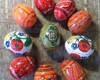 Lot of 10 Hand painted Ukrainian Wooden Easter eggs PYSANKA PISANKA #d125