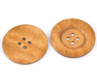 """20 PCs Light Brown Big Wood Buttons 4 Hole for Sweater 6cm (2.36"""") Round Wood Sewing Scrapbooking Buttons"""