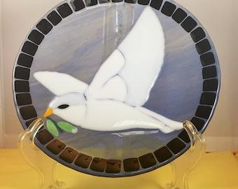 peace dove fused glass decorative plate