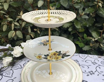 3 tier plate stand Vintage mismatch  green and gold theme. tea party. wedding. Mad hatter