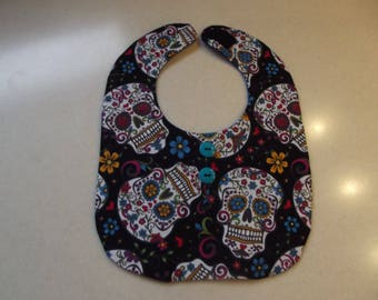 Sugar Skulls Baby Bib - Multi-color - black background