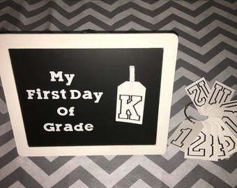 Reversible First and Last Day Chalkboard With Tags