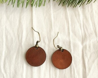 Leather Circle Earrings - Small