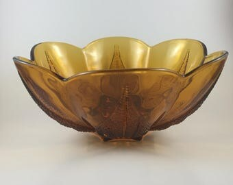 Vintage Indiana Glass Amber Bowl with Leaf Pattern (GREAT DETAIL)