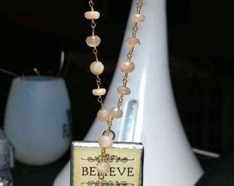 Peach Moonstone Believe Necklace