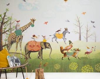 Wallpaper Animal Parade - Kids Wall Mural - Blue