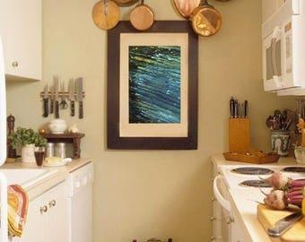 "Below sea level - ORIGINAL Acrylic Painting On Canvas By Anastasia Teplova. Sea Decor, Abstract Canvas Art, Size: 12"" x 16"""