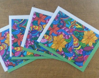 Handmade Blank Note Cards, Set of 4, Modern, Colorful