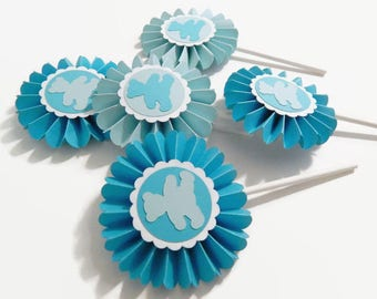 Teddy Bear Rosette Cupcake Toppers, birthday party baby shower cup cake decorations, set of 12 blue teddy bear medallion party cake toppers