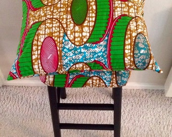 A Set Of 3 Handmade African Prints Cushion Covers
