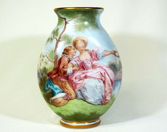 Antique French Painted glass Signed E. Froger