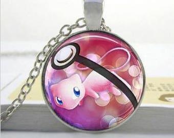 Pokemon Mew Pokeball Silver style pendant necklace
