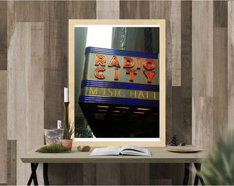 digital print, print, instant download, digital download, Radio city, Radio City Music Hall, New York, landscape, Photography