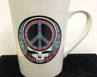 Peace Stealie Tie-Dye White Coffee Mug