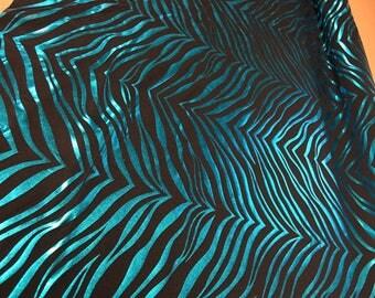 Black 4 Way Stretch Lycra w/ Turquoise Zebra Metallic