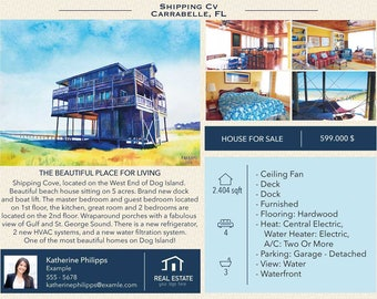 """Custom real estate flyer with watercolor painting of house, Real estate brochure, 8,5x11"""""""
