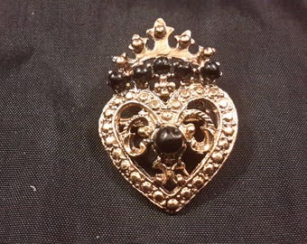 Vintage Heart & Crown, Gold Tone with Black Stone Brooch