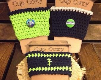 Seattle Seahawks Crochet Coffee Cup Cozy