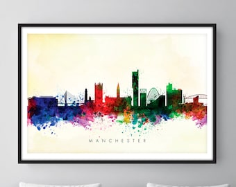 Manchester Skyline, Manchester England Cityscape England, Art Print, Wall Art, Watercolor, Watercolour Art Decor [SWMAN04]