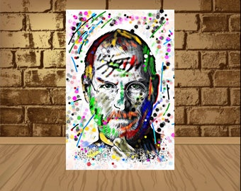Steve Jobs Poster, Steve Jobs Print,wall art,Steve Jobs Art,Home Decor, Gift Idea,Steve Jobs,Steve Jobs Wall Art,art,poster,Steve Jobs Decor