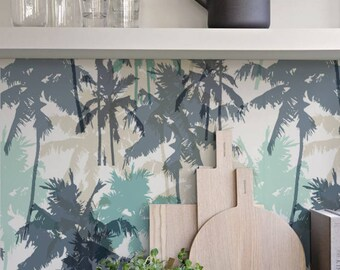 Palms Wallpaper - Wall decor - Self adhesive - Peel and stick - Wall mural - Wallpaper - Easy stick - Repositionable - Wall decor - 81