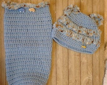Crochet newborn cocoon, baby boy clothes, baby clothes, swaddle sack, children clothing