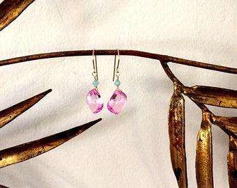 Pink Topaz Drop Earrings