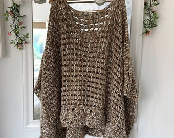 Crocheted Poncho in Creams/Beiges