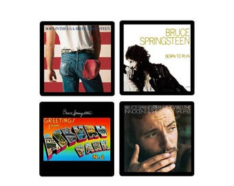 Bruce Springsteen (4) Coaster Set - Four Different Album Covers recreated on soft absorbent  rubber/fabric coasters Gift Idea The Boss