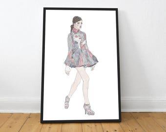 Fashion illustration, fashion, print, poster, poster, illustration, catwalk
