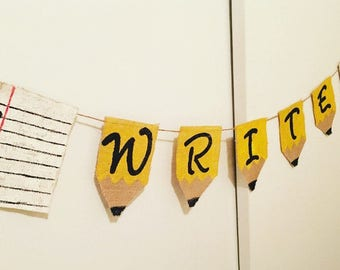 Writing Classroom Pencil Banner- FREE shipping