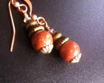 goldstone and copper earings