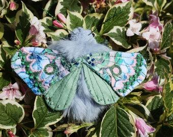 Spirit Moth Brooch - OOAK Handmade Textile Brooch