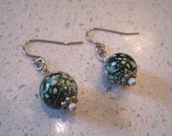 Green and White Swirls and Sparkles Earrings