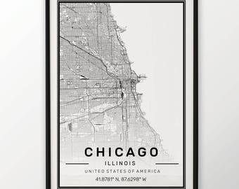 Chicago City Map Print, Modern Contemporary poster in sizes 50x70 fit for Ikea frame All city available London, New york Paris Madrid Rome