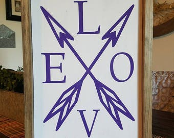 LOVE With Arrows Farmhouse Wood Sign