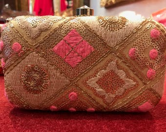 Gold Double Sided Embroidered Clutch