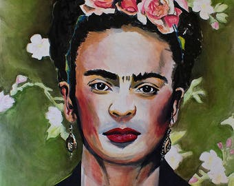 Forever Young frida Kahlo painting 70x 100 cm, oil on paper, incl frame, Frida Kahlo, oil on paper, List demirrored glass