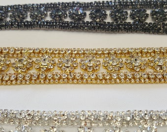 1 yard Rhinestone trim/ Rhinestone Chain/ Formal gown belt/ rhinestone fringe Swarovski shine  silver, gold,rose gold,black