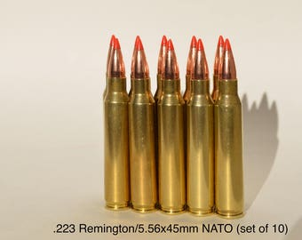 Bullet Jewelry Supplies .223 Remington (set of 10 rounds) Dummy Rounds Replica Rifle Bullet Supply Ammo Art Earrings Keychain Necklace