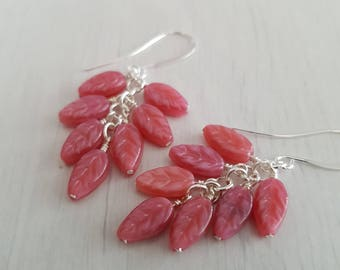 Vintage pink glass beads, wire wrapped, silver plated earrings.