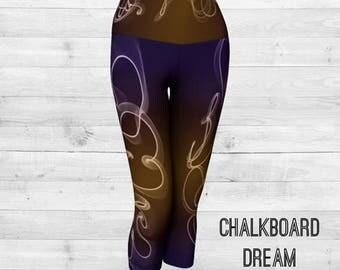 """Yoga Capris, Printed Capris, """"Chalkboard Dream"""""""