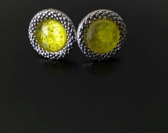 Yellow Sunflower Stud Earrings with Silver Base