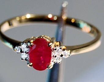 14 Carat Ruby or Sapphire Ring with Diamond Accents