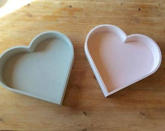 Pink Wooden Heart Trays