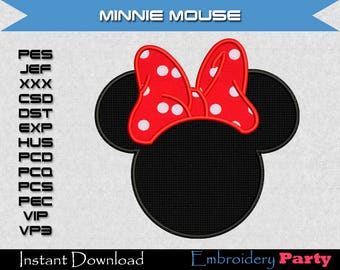 Minnie Mouse Applique Machine Embroidery - Instant Digital Download design pattern alphabet letter jef hus pes